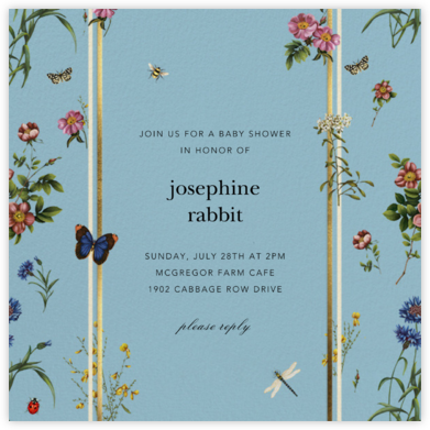 Botanical Ribbon - Blue - Oscar de la Renta - Woodland Baby Shower Invitations