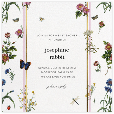Botanical Ribbon - White - Oscar de la Renta - Baby Shower Invitations