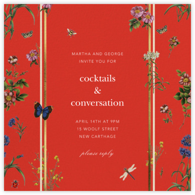Botanical Ribbon - Red - Oscar de la Renta - Summer Entertaining Invitations