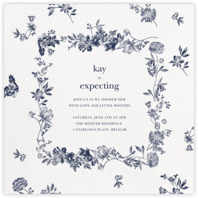 Royal Botanical - White - Oscar de la Renta - Baby Shower Invitations