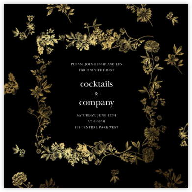 Royal Botanical - Black - Oscar de la Renta - Dinner Party Invitations