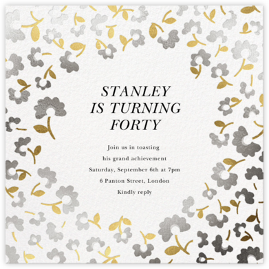 Mini Flowers - Metallic - kate spade new york - Adult Birthday Invitations