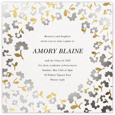 Mini Flowers - Metallic - kate spade new york - Celebration invitations