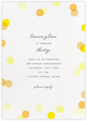 Carnaby (Tall) - Yellow - Paperless Post - Adult Birthday Invitations