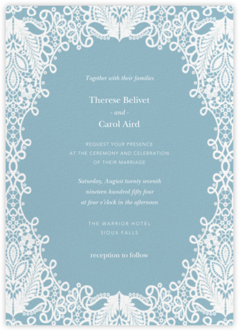 Heirloom Lace (Invitation) - Blue - Oscar de la Renta - Wedding Invitations