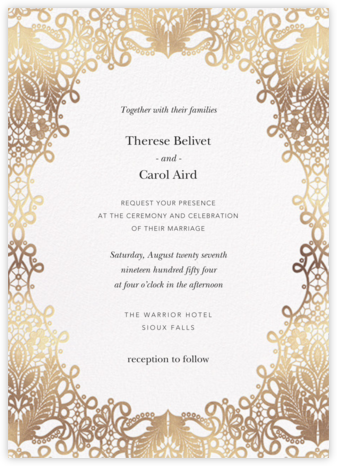 Heirloom Lace (Invitation) - White - Oscar de la Renta - Wedding invitations