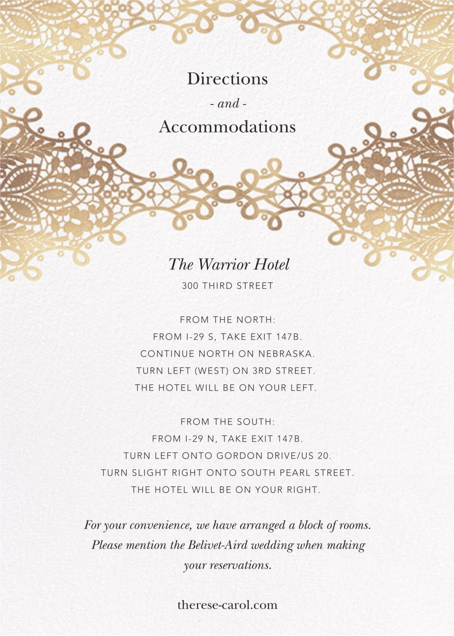 Heirloom Lace (Invitation) - White - Oscar de la Renta - Classic  - insert front