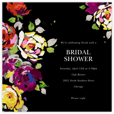 Rosy Dreams - Black - kate spade new york - Bridal shower invitations