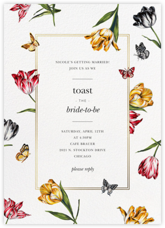 Striped Tulips - White - Oscar de la Renta - Bridal shower invitations