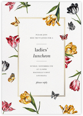 Striped Tulips - White - Oscar de la Renta - Brunch invitations