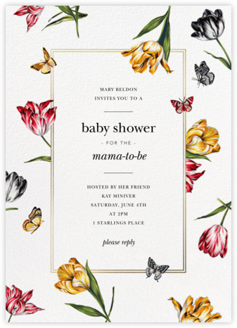Striped Tulips - White - Oscar de la Renta - Baby Shower Invitations