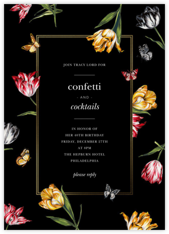 Striped Tulips - Black - Oscar de la Renta - Adult Birthday Invitations