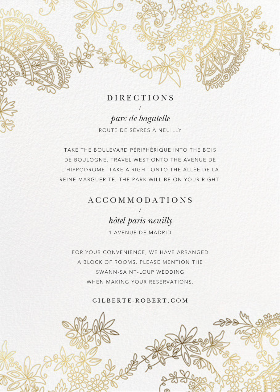 Floral Filigree (Invitation) - Oscar de la Renta - All - insert front