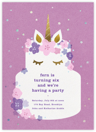 Unicorn Cake - Paperless Post - Online Kids' Birthday Invitations