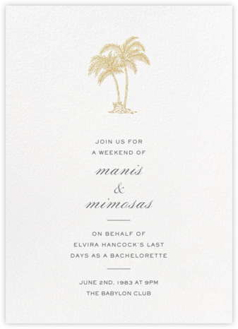 Mascarene - Gold - Crane & Co. - Bachelorette Party Invitations