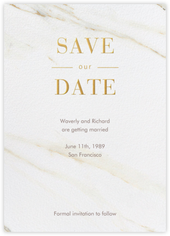 Carrara - Vera Wang - Gold and metallic save the dates