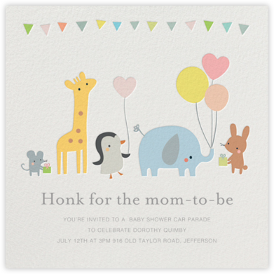 Party March - Little Cube - Elephant Baby Shower Invitations