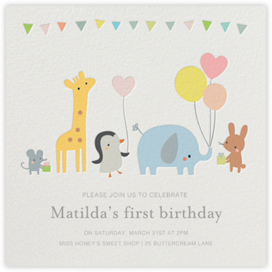 Party March - Little Cube - First Birthday Invitations