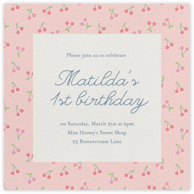 Cherry Baby - Little Cube - First Birthday Invitations