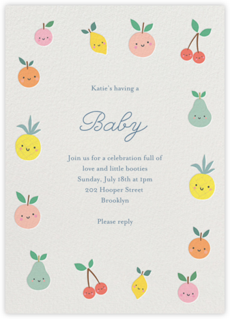 Cute Fruit - Little Cube - Baby Shower Invitations