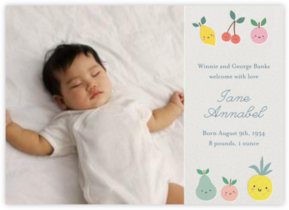 Cute Fruit Photo - Little Cube - Birth Announcements