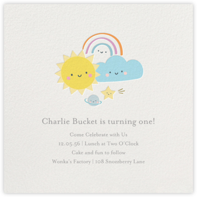 Smiling Skies - Little Cube - First Birthday Invitations