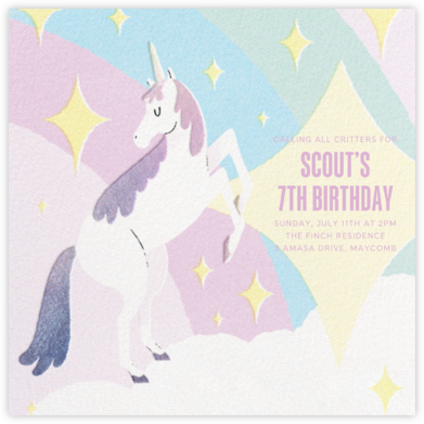 Magic Unicorn - Paperless Post - Online Kids' Birthday Invitations