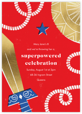 Birthday Hero - Red - Paperless Post - Online Kids' Birthday Invitations