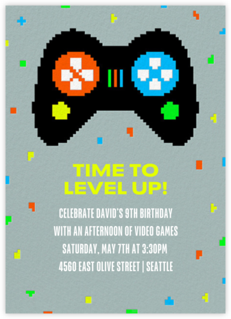 Player One - Paperless Post - Online Kids' Birthday Invitations