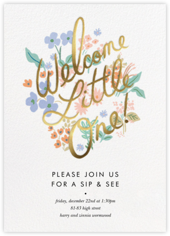 Meadow Welcome Little One - Rifle Paper Co. - Rifle Paper Co. Invitations