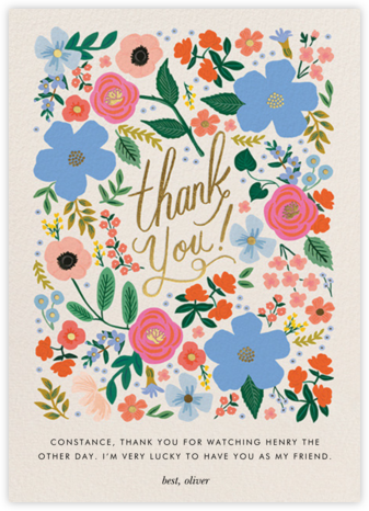Wild Rose Thank You - Rifle Paper Co. - Online Thank You Cards