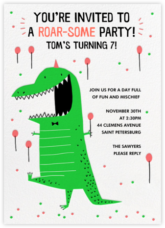 Roar-some Party - Hello!Lucky - Online Kids' Birthday Invitations