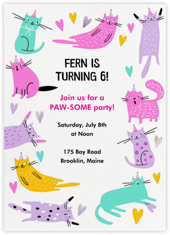 Cats in Hats - Hello!Lucky - Online Kids' Birthday Invitations
