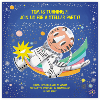 Cat-stronaut - Hello!Lucky - Online Kids' Birthday Invitations