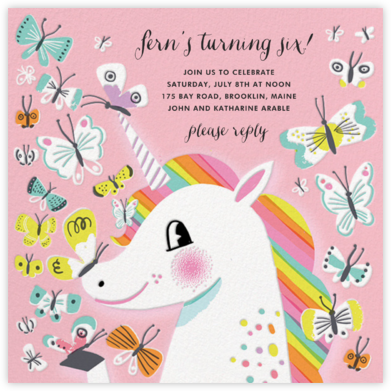 Butterfly Kisses - Hello!Lucky - Unicorn invitations