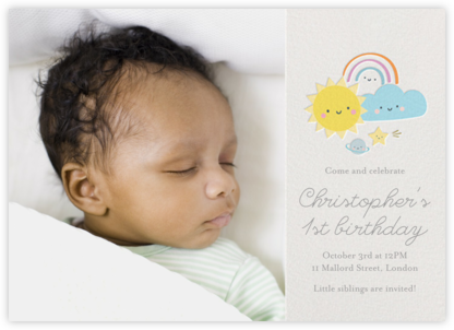 Smiling Skies Photo - Little Cube - First Birthday Invitations