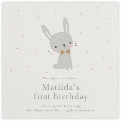 Baby Bunny - Little Cube - First Birthday Invitations