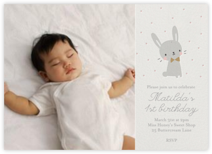 Baby Bunny Photo - Little Cube - First Birthday Invitations