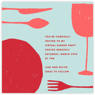 Place Setting (Square) - Red - Paperless Post - Virtual Parties