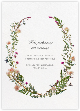 Fleurs Sauvages (Tall) - Paperless Post - Wedding Postponement Cards
