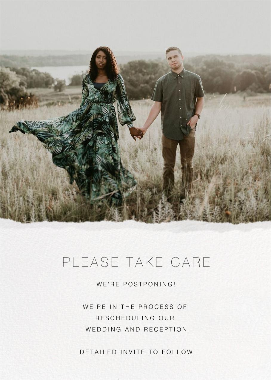 Raw Edge - Paperless Post - Wedding postponement