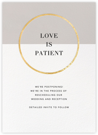 Burgoyne - Oyster/Gold - Paperless Post - Wedding Postponement Cards