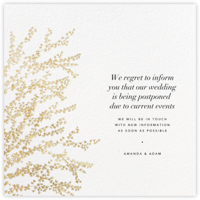 Forsythia - Gold - Paperless Post - Wedding Postponement Cards