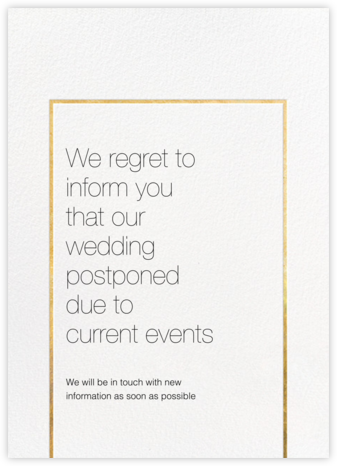 Veldener - Gold - Paperless Post - Wedding Postponement Cards