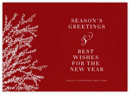 Forsythia (Horizontal) - Cardinal with White - Paperless Post - Christmas Cards