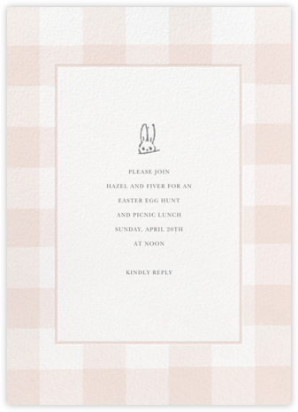 Buffalo Check Bunny - Pink - Sugar Paper - Easter Invitations