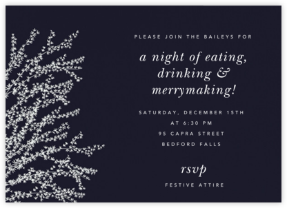 Forsythia (Horizontal) - Midnight with White - Paperless Post - Winter Party Invitations