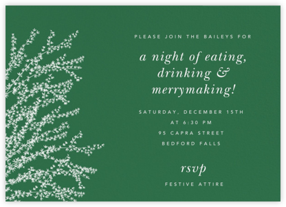 Forsythia (Horizontal) - Moss - Paperless Post - Winter Party Invitations