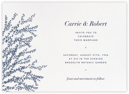 Forsythia (Horizontal) - Navy - Paperless Post - Wedding Invitations