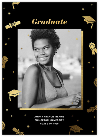 Grad Confetti - Black - Paperless Post - Online College Graduation Announcements